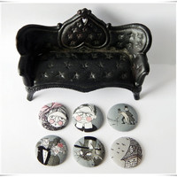 Spooky Gothic Family Fabric-Covered Button Magnets -OR- Jumbo Paperclip Bookmarks Set of 6 (Black, White, Gray, and Pink) Unique Gift