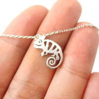 Adorable Pascal Chameleon Shaped Cut Out Charm Necklace in Silver | Animal Jewelry