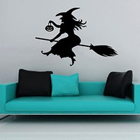 Wall Decal Happy Halloween Holiday Vinyl Sticker Witch On A Broomstick Pumpkin Decals Home Decor Bedroom Art Design Interior NS900