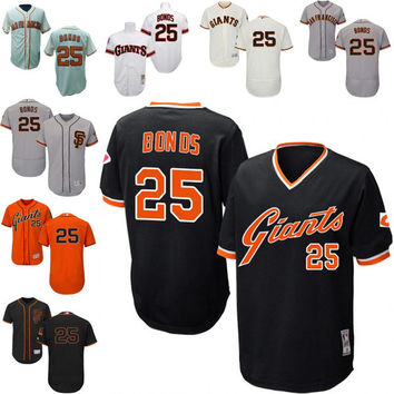 Black white grey orange cream Throwback Barry Bonds Authentic Jersey , Men's #25 Mitchell And Ness San Francisco Giants