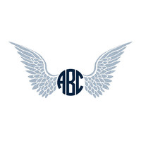 Wings Monogram Decal Sticker