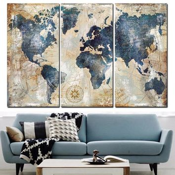 Modular Painting Poster Fashion Wall Framework Picture 3 Panel World Map Canvas Art Printed For Home Decoration Kids Room