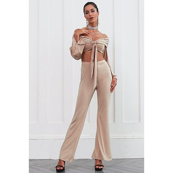 Women Two Pieces Flare Sleeve Jumpsuit Romper Women Off shoulder Bow Overalls Autumn Crop Long Playsuit