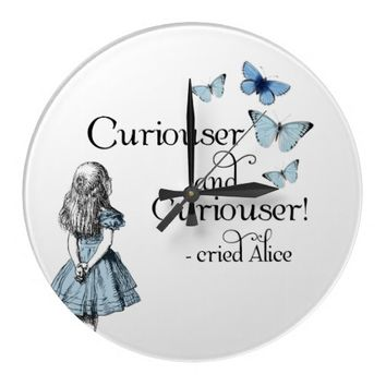 Alice in Wonderland Curiouser Butterfly Clock
