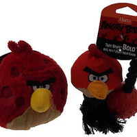Hartz Angry Birds Dog Toys Set 2 Red Ball Launcher Tuff Stuff Bolo Squeaker NEW