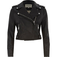 Petite black faux leather biker jacket - jackets - coats / jackets - women