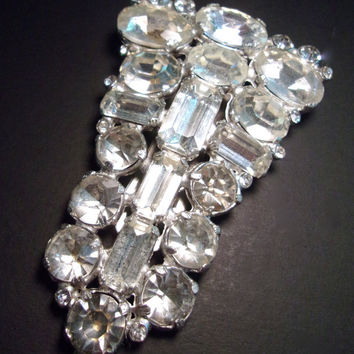 Clear Rhinestone Art Deco Large Dress Clip, Unsigned Eisenberg, Various Glass Cuts, Vintage 3 Inches