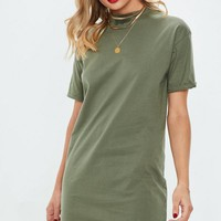 Missguided - Khaki Short Sleeve Crew Neck T-Shirt Dress