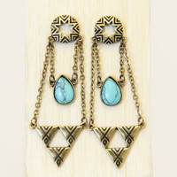Berenice Turquoise Chain Earrings - Earrings