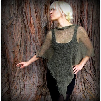 Poncho Scarf Festival Hood Cowl ~ Post Apocalyptic Burning Man Playa Wear ~ Sheer Knit Mesh Sweater ~ Khaki Green, White Cream, Black,
