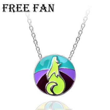 Free Fan Love Animal Enamel Viking Wolf Necklace Pendant Women Long Chain Collar Goth Animal Necklace For Children Gift 2018