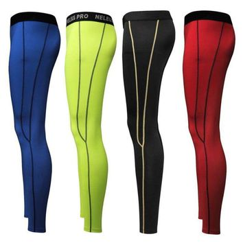 Men's Sport Compression Base Layer Pants Gym Fitness Running Thermal Trousers