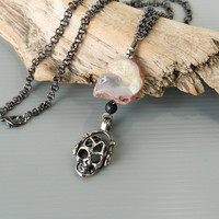 Skull Necklace with Raw Agate Stone and Black Onyx Ball, Unisex Fashion Accessories