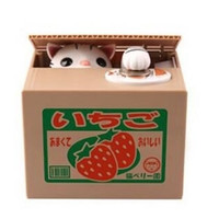 2015 New Cute Cat  Panda Steal Coin Bank Piggy Bank Money Box Automated 4 Model New Year Gift