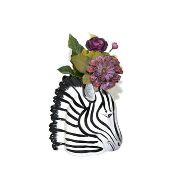 Vintage Zebra Head Vase Fitz and Floyd Zebra Vase Zebra Head Zebra Figurine Jungalow Decor Boho Decor