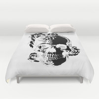 To the core, graphic rose skull Duvet Cover by Kristy Patterson Design