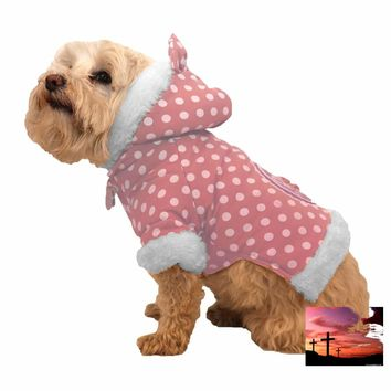 Polka-Dot Couture-Bow Pet Hoodie Sweater - Pink Polka