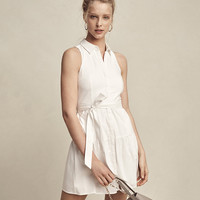 Sleeveless Drop Waist Shirt Dress
