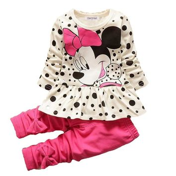 Boys & Girls Cotton Spring Autumn sport suit Kids Clothing set Kids Casual clothes baby boys & Girls dot print set