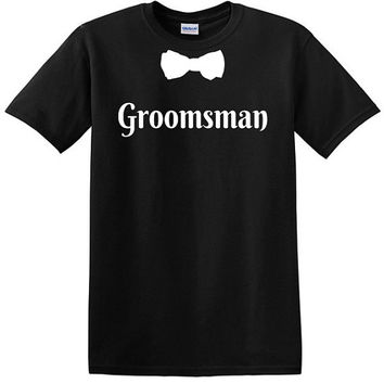 Groomsman T-shirt with Bow Tie Wedding Party T-shirt Bachelor Party Team Groom Entourage Groomsmen Mens Usher Wedding Ring Bearer Groom Tees