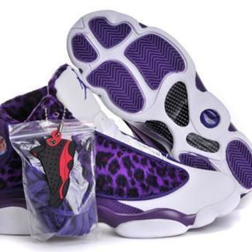 Fashion Online Hot Nike Air Jordans 13 Women Shoes Leopard Print Purple White