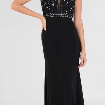 Sleeveless Embellished with Sheer Inset Bodice Long Formal Dress Black