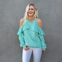 Ruffle Love Sweater Top in Pop Mint