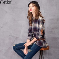 Artka Women's Autumn Shirts 2017 Patchwork Plaid Shirt Women Casual Long Shirt Female Basic 100% Cotton Plus Size Shirt SA10120D