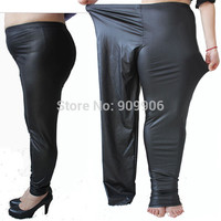 New Women 3XL 5XL Plus Size Sexy Faux Leather Stretch Leggings Skinny Pants Jeggings Casual Trousers Fashion Clothing