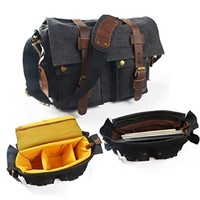 Charm & Magic Outdoor Travel Waterproof Canvas Messenger Camera Bag for Slr/dslr Digital Camera and Accessory + Computer Laptop Shoulder Bag