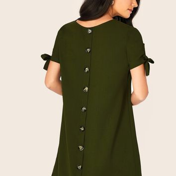 Knot Sleeve Button Back Dress