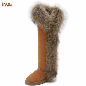 INOE Fashion Style big girls fox fur tall thigh winter snow boots for women winter shoes cow suede leather long boots for party