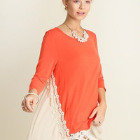 Top with Lace Detail - Coral