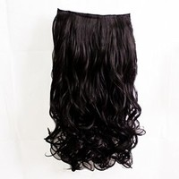 "REECHO Women Ladies 20"" 28"" Long Curly Wavy One Piece 5 Clips in on Hair Extensions (20"", Black)"