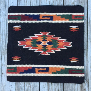 Baja Black Wool Saddleblanket Pillow Cover