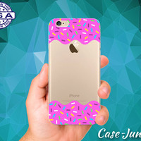 Pink Frosting Sprinkles Doughnut Icing Rainbow Clear Case For iPhone 5/5s, iPhone 5C, iPhone 6 and iPhone 6 +, iPhone 6s, iPhone 6s Plus +