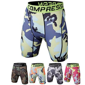 Sexy Mens Compression Shorts Male Fitness & Bodybuilding Mid Waist Elastic Trunks Compression boxers musculation Men's Clothing