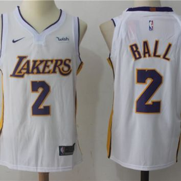 Best Deal Online NBA Authentic Basketball Player Jerseys Los Angeles Lakers # 2 Lonzo Ball White