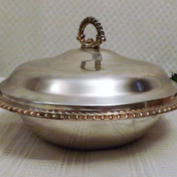 Vintage Wm Rogers IS Silver Plate Chafing Dish Pyrex Clear Glass Bowl
