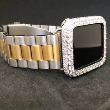 Apple Watch Band 38mm 42mm Men's Womens Silver/Gold Two Tone Series 1 2 3 & Silver Bezel Case Cover Face 2mm Lab Diamonds Crystal Bling Set