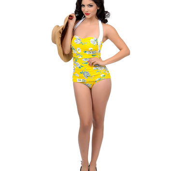 Esther Williams Vintage 1950s Style Pin Up Yellow & White Floral Nancy Swimsuit