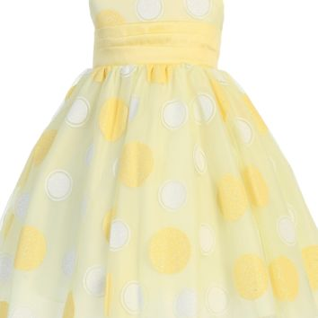Glitter Polka Dots on Tulle Overlay Yellow Satin Spring Dress with Shantung Sash (Baby to Girls Size 10)