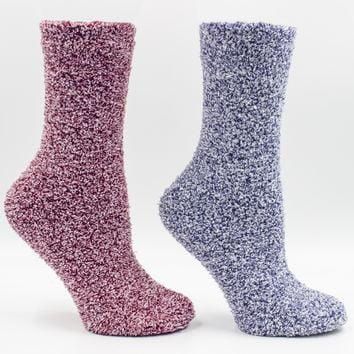 Women's Eucalyptus Mint and Shea Butter Infused 2-Pair Pack Heather Slipper Socks with Sachet Gift