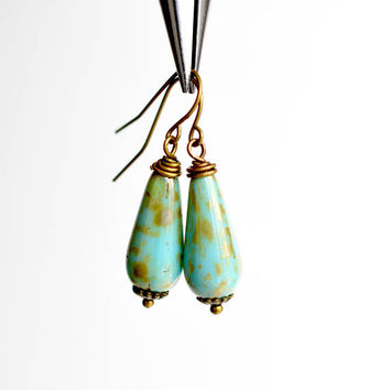 Czech glass drop earrings, turquoise gold dangle earrings, teardrop earrings, antiqued brass bead earrings, boho style women's jewelry