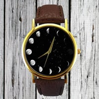 Moon Phases Watch   Space Watch   Astronomy Watch   Ladies Watch   Unisex Watch   Gift Idea   Fashion Accessory   Classic   Christmas Gift