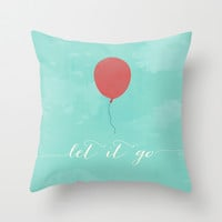 LET IT GO - RED BALLOON Throw Pillow by Allyson Johnson