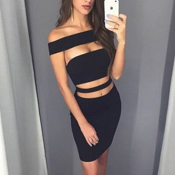 Sexy hollow solid color tight dress