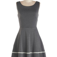 ModCloth Mid-length Tank top (2 thick straps) A-line Fun-day Best Dress in Grey