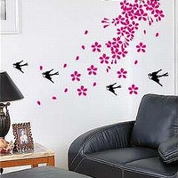 Tree with Pink Leaves Flowers Falling with Birds Sticker Decal for Baby Nursery Kids Room