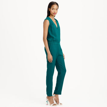 PETITE DRAPEY OXFORD CREPE V-NECK JUMPSUIT